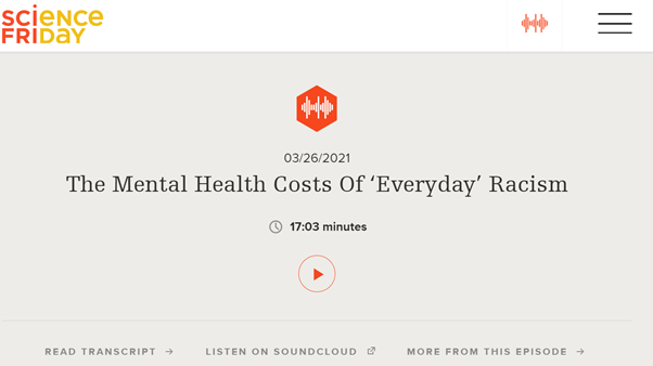 Dr. Cheah Talks about the Mental Health Costs of 'Everyday' Racism on NPR Science Friday