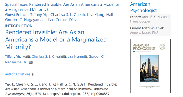 Dr. Cheah Co-Edited the First Special Issue on Asian Americans in the American Psychologist